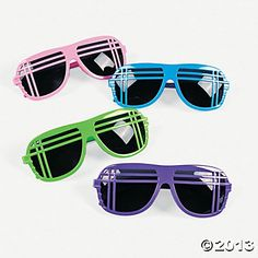 80s neon sunglasses, just for fun. $15.00 per dozen from Oriental Trading