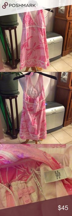 "Lilly Pulitzer Pink Halter Sundress   Size 0 Very cute Lilly Pulitzer halter sundress,Size 0. Measurements are top to bottom 23"", pit to pit 14"".Sorry no trades. Lilly Pulitzer Dresses Backless"