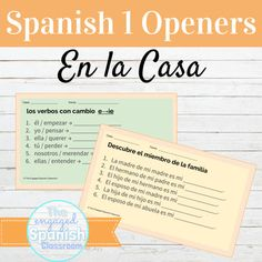 Spanish 1 House and Family Class Openers