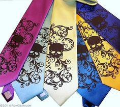 Mens wedding skull tie,  -  Mens necktie custom colors - print to order