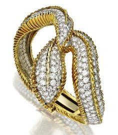 18 karat zlato a diamantový had náramek-náramek, Tiffany & Co.