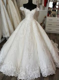 Discount New Said Mhamad Cathedral Train Luxury Wedding Dresses Ball Gowns Arabic Dubai Vestido De Novia With Beads Floral Flowers Bridal Gowns Cheap Wedding Dresses Uk Colored Wedding Dresses From Hxhdress, White Wedding Gowns, Luxury Wedding Dress, Perfect Wedding Dress, Dream Wedding Dresses, Bridal Dresses, Gown Wedding, Lace Wedding, 2017 Wedding, Wedding Venues