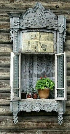 "In Tomsk Siberia you find wooden houses, like those out of a famous Russian fairytale with windows bordered with elaborately carved wooden ""lace"". Gazebos, Window View, Window Detail, Through The Window, Old Doors, Window Boxes, Doorway, Windows And Doors, Arch Windows"