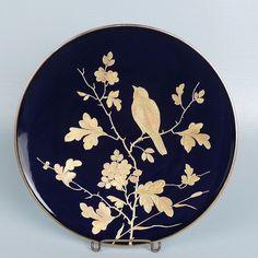 Great Pirkenhammer Porcelain Cobalt Raised Gold Aesthetic Plate #1 - Mintons PC