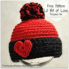 "Free pattern ~ Lil' Bit of Love Hat. This pattern for the wee ones came about for two reasons – TWINS! A dear friend gained ""Auntie"" status, welcoming twins into the family. As twins will do, they are rather in cahoots as to their arrival date. These two decided to make their appearance a bit …"