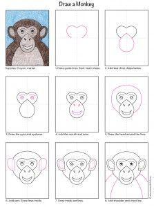 Easy Drawings For Kids, Drawing For Kids, Art For Kids, Monkey Art Projects, Projects For Kids, Monkey Drawing Easy, Animal Drawings, Art Drawings, Drawing Art