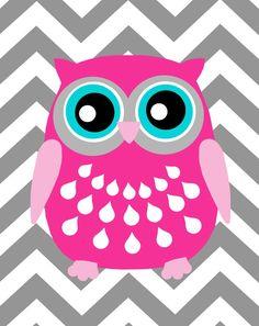 Modern Chevron Owl Silhouette Print - Chevron Zig Zag - Kids Wall Art for Nursery - Cute, Anima Owl Illustration, Illustrations, Nursery Canvas, Nursery Art, Canvas Artwork, Canvas Art Prints, Cute Owls Wallpaper, Blackwork, Henna Designs
