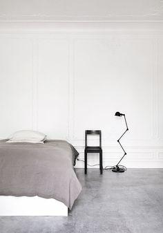 VADBAEK HOUSE IV- Norm Architects, Salad Days, white home, soft grey, black and tan details, brilliant light fixtures