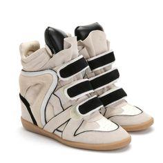 Isabel Marant High-top Black & Beige Wedge Sneakers