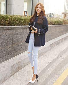 Ripped Knees, Stylenanda, Black Leather Boots, Dark Victory, Korean Fashion, White Jeans, Light Blue, Skinny Jeans, Slim