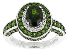 2.70ctw Oval And Round Chrome Diopside With .14ctw Round White Zircon Sterling Silver Ring