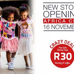Who knows where we'll be setting up shop next? 😳 🤔 That's right – Africa City! 😮🙌🎉 We can't wait to see you all and have a JAMmin' opening day next Thurs, 16 Nov, with one of our famous ONE-DAY-ONLY sales! Disney Tops, Disney Girls, Only Sale, Cant Wait To See You, One Day Only, Opening Day, Africa, Photo And Video, City