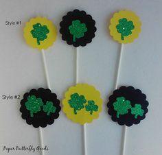 Shamrock Cupcake Toppers, St. Patricks Day Cupcake Toppers, 4 leaf clover, Shamrock, Luck of the Irish, Food Picks
