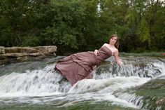 Senior picture pose waterfall water prom