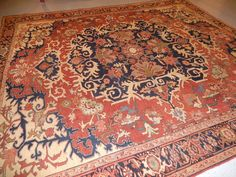 Serapi Heriz rug 10'2''x11'6'' Antique Persian carpet lovely circa 1910 restored