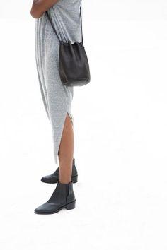 Baggu Drawstring Purse Black Leather