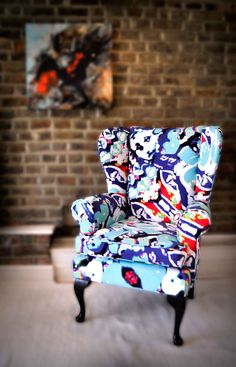 Ducks & Beans upcycled wingback armchair. £995 at archiemaclondon.co.uk. Check out the website to see how the pattern was created from photos of the toys that Archie Mac London designer Robyn loved as a child!! Available at Muck N Brass, 72 Brockley Rise, SE23 1LN
