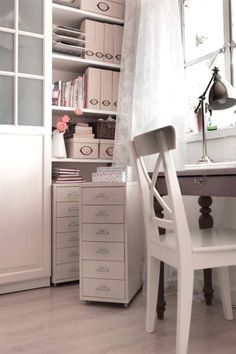 IKEA sweet office nook - I want our Helmer drawers to sit under shelves and roll out, too!