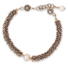 "En Noir et Blanc: Sterling silver and 22K vermeil accents. Expandable clasp, up to 7 1/2"". Choose among three styles -- 1, 2 or 3 pearls. #glimmerdream #bracelet #pearl #jewelry #sterlingsilver"