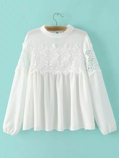 SheIn offers White Band Collor Crochet Lace Blouse & more to fit your fashionable needs. Indian Designer Outfits, Designer Dresses, Blouse Styles, Blouse Designs, Hijab Fashion, Fashion Dresses, Collor, Mode Hijab, Blouse Dress
