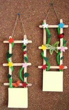 Rare and Easy Crafts for Kids that are Worth Trying - Popsicle stick art - Popsicle Stick Art, Popsicle Stick Crafts, Craft Stick Crafts, Fun Crafts, Diy And Crafts, Paper Crafts, Easy Crafts For Kids, Summer Crafts, Diy For Kids