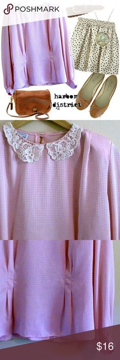 """Vintage 70s Peter Pan Collar Blouse - Size M/L Darling blouse in a pretty shade of pink. I love the collar - a crochet Peter Pan style. Blouse has a neat pattern and some shine. Two button closure in back. Shoulder pads, which could be removed if desired. Gathered darting at the waist - this gives it a feminine shape. An adorable piece in great condition. Bust: 40"""", waist: 34"""", length: 22"""", size: estimated modern M/L (PLEASE CHECK MEASUREMENTS), label: Jonathan Martin. Vintage Tops Blouses"""