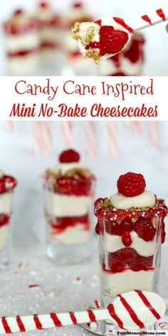 Your family will love when you serve these candy cane inspired mini no-bake cheesecakes for Christmas dessert! #SimplySatisfying