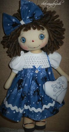 Christmas Annie in blue with smocked dress by charmingsbycmh