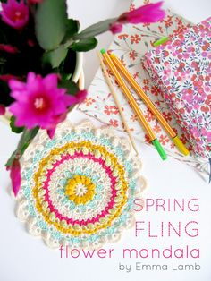Spring Fling Flower Mandala (pattern in crochet gifts magazine) ..Gorgeous colours & lacy pattern