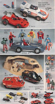 Superhero Action Figures from a 1980 catalog #vintage #1980s #toys