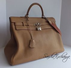 Authentic Hermes Kelly 50 cm Travel Voyager Clemence Gris Tourterelle PHW  Rare 2226e8ab5634c