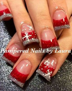 Christmas nail art on duck feet nails! Flare tips French Nails Glitter, Fancy Nails, Love Nails, Holiday Nail Art, Christmas Nail Art Designs, Winter Nail Designs, Xmas Nails, Christmas Nails, Christmas Duck