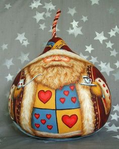 Go Ask Alice Wonderland Santa Christmas gourd red by SuzysSantas, $250.00  OMG, this chick puts me to SHAME!!! How amazing is this?? Check out the back of him!!! (when you click on the link it will take you to Etsy and you can see the other side!!)