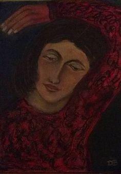 """Lady in Red"" Pasteltekening 36 x 45  ©DdB 19-11-2016"