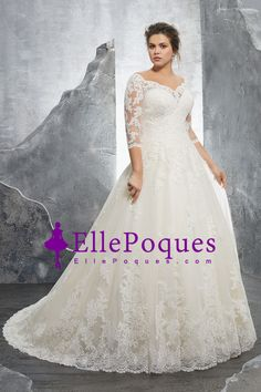 2018 Off The Shoulder 3/4 Length Sleeve A Line Tulle Wedding Dresses With Applique Sweep Train US$ 299.99 EQPFKCZ2NP - EllePoques.com for mobile