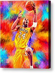 Kobe Bryant Basketball Art Portrait Painting by Andres Ramos