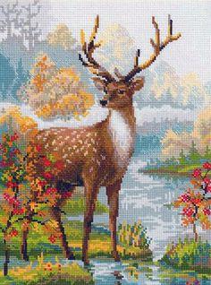 Скачать Вышивка «Олень» бесплатно. А также другие схемы вышивок в разделах: , Riolis, Дикие животные, Природа