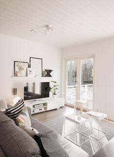 Living room, white and gray, scandinavian