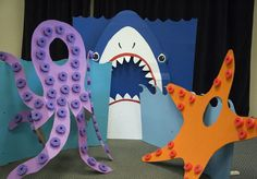 Fun photo booth ideas for Ocean Commotion VBS!- Fun photo booth ideas for Ocean Commotion VBS! Fun photo booth ideas for Ocean Commotion VBS! Ocean Crafts, Vbs Crafts, Crafts For Kids, Under The Sea Theme, Under The Sea Party, Submerged Vbs, Photos Booth, Ocean Party, Shark Party