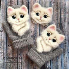 Sewing baby mittens children 61 Ideas for 2019 Baby Mittens, Knit Mittens, Mitten Gloves, Sewing Projects For Kids, Cat Lover Gifts, Baby Crafts, Sewing Patterns Free, Fabric Scraps, Needle Felting