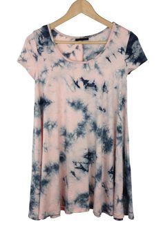 tie dye mini swing dress (rose quartz/dk blue)