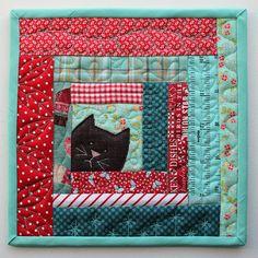 Kitty Potholder cat scrappy patchwork log cabin mug-rug