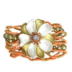 """Fashion Stretch Bracelet; 2.25"""" H Flower with Clear Rhinestone; Brushed Gold, Rose Gold and Silver Metal; Coral Beads; Stretches To Fit Most; Eileen's Collection. $19.99"""