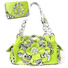 Leopard Lime Green Flower Rhinestone Handbag W Matching Wallet