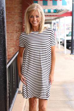 e11c8e98c096 One Faith Boutique - For The Best Striped Dress ~ White/Black ~ Sizes 4