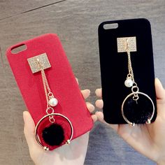 Luxury Fashion Korean Style Diamond Pearl Pendant Fox Fur Ball Tassel Ultrathin Leather Phone Case Cover For iPhone 7 6 6S Plus