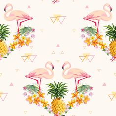 Geometric Pineapple and Flamingo Background - Seamless Pattern in...