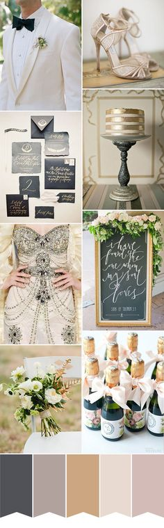 Luxe Wedding Colour Palette   www.onefabday.com   #Black #Gold #Wedding