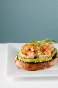 Guacamole and shrimp bruschetta