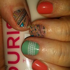 Loving Boomerang and Cabana together with Grapefruit to even it out! Boomerang and retires August 31st! #jamberry #manicure #nails #nailart #red #mint #green